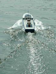 Wasserschutzpolizeiboot von Patrick bei der ersten Testfahrt